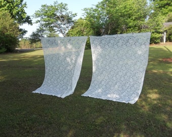 Vintage Ivory Lace Curtains 60 x 82 Pair Lace Panels  Window Treatment French Country Prairie Farmhouse Cottage Chic Set of 2