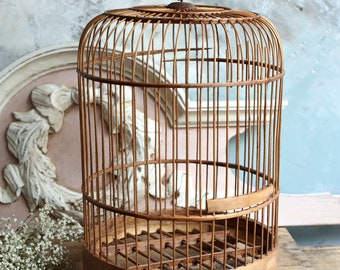 Vintage Oriental Bamboo Domed Bird Cage