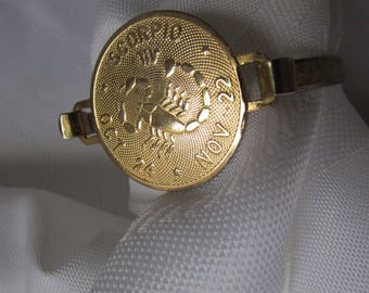 BRACELET vintage 1980 SCORPION Oct 24 Nov 22 Scorpion goldtone retro costume jewelry