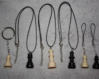 Chess Piece Accessories - Necklace, Cell Charm, Keychain, Earrings, Chokers etc