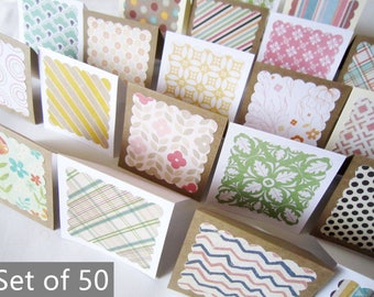 """3"""" x 3"""" Mini Note Cards with Envelope / Blank Note Cards / Thank you cards / Mini Thank You Enclosures / Assorted Patterns  / Set of 50"""