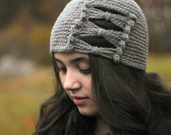 Gray Bow Beanie / Womens Winter Hat/ Girls Hat/ Girls Winter Hat/ Girls Bow Hat/ Womens Bow Hat/ Girls Hat/ Womens Hat/ Gray beanie/