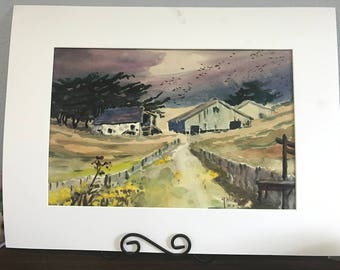 Fred March Ranch, Original Watercolor by Galen Russell Wolf (Unframed)