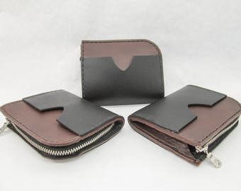 Small Leather Wallet, half zipper wallet, card holder, minimalist wallet, men's wallet, women's wallet