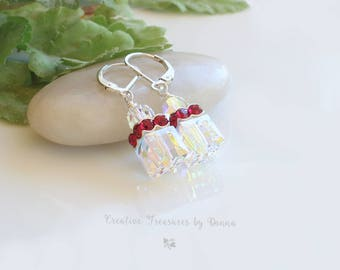 Wedding Jewelry Swarovski Crystals Sterling Silver Earrings White and Red Earrings  Bride jewelry Cube Earrings April Birthstone