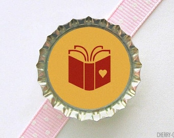Book Bottle Cap Magnet, book theme baby shower favor, book lover gift, librarian gifts for writers, book club gift for librarian, book party