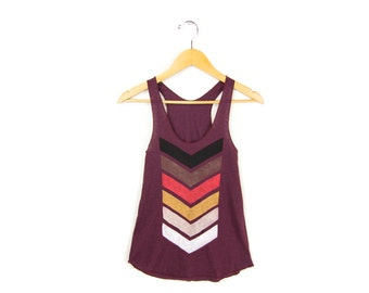 Geo Chevron Tank - Racerback Scoop Neck Swing Tank Top in Heather Cranberry and Fire - Women's Size XS-2XL