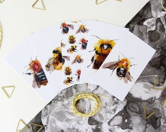 Gift Wrapping Organisational Tags, Bumble Bee Illustrated Gift Tags