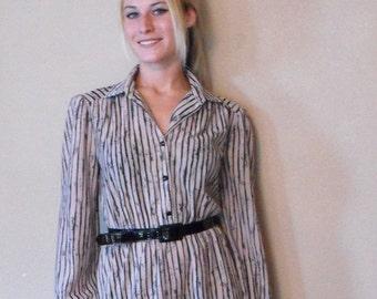 Sheer Striped Dress Vintage Secretary Beige Black