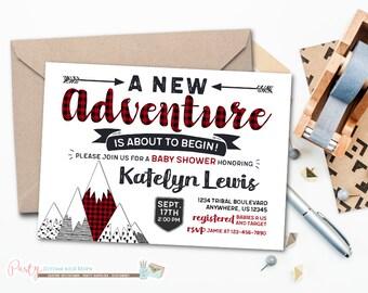 Adventure Baby Shower Invitation, A New Adventure Baby Shower Invitation, Buffalo Plaid Invitation, Adventure Awaits Baby Shower