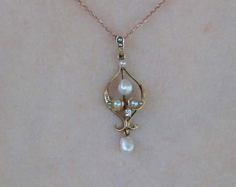REDUCED Antique 14k yellow gold pearl and diamond pendant
