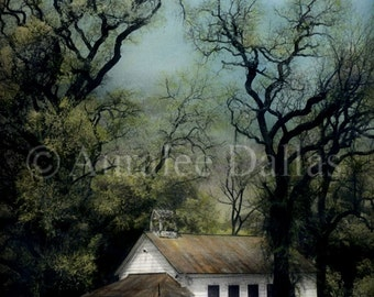 Schoolhouse Photo Hand Colored Photo Vintage Style Photograph Muted Colors Historical Building Photograph