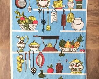 Vintage linen tea towel flour sack kitchen motif cornflower blue