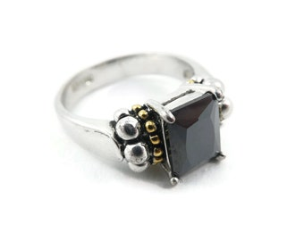 Vintage, Black Rhinestone, Ring, Faceted Glass, 18K Electroplate, Size 8