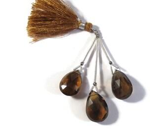 Three Beer Quartz Beads, Large Gemstone Briolettes, 3 Natural Gemstone Beads for Jewelry Making, 22mm x 16mm &  16mm x 12mm (Pt-Bq1)
