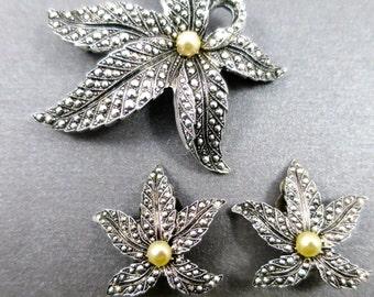 Vintage Eloxal Leaf Brooch & Earrings Set Faux Marcasite Leaf Jewelry Faux Pearls Silver Finish West Germany MidCentury Jewelry Set
