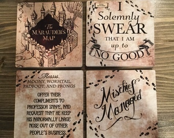 Harry Potter Coasters Marauder's Map Sandstone Coasters Mischief Managed I Solemnly Swear That I Am Up To No Good Snape Ron Hermione