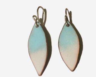 Handmade enamel blue long drop earrings