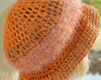 Cute orange winter hat with a brim, unique crochet hat in shades of orange, women's winter fashions, original winter hat, gift for her