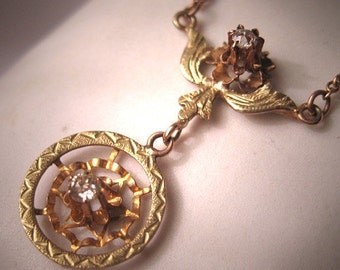 Antique Victorian Diamond Necklace Gold Edwardian c.1900