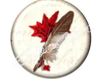 1 cabochon 25mm domed glass cabochon feather image shown