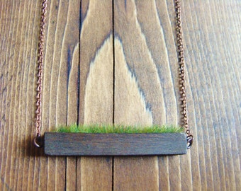 Wooden Necklace / Real Moss Necklace / Grass Necklace / Green Plant Jewelry / Planter Necklace / Moss Necklace / christmas gift 2016 / moss