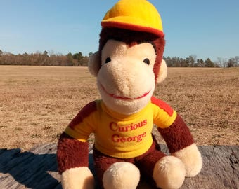 Vintage Curious George Knickerbocker Stuffed Animal Yellow Shirt and Hat 14""