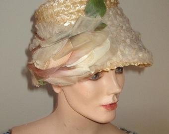 Vintage Edwardian Style Bonnet Cream Straw /Tulle Draped with Silk Rose Trim Item #756 Hats