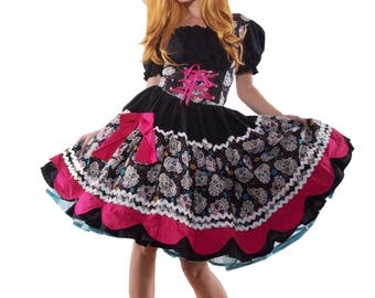 Sugar Skull Dress Day of the Dead Dia de los Muertos Halloween Costume Cosplay Anime Custom Size including Plus Sizes Made to Measure