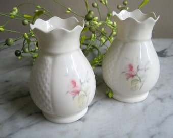 Vintage Pair of Donegal Irish Parian Rose China Vases