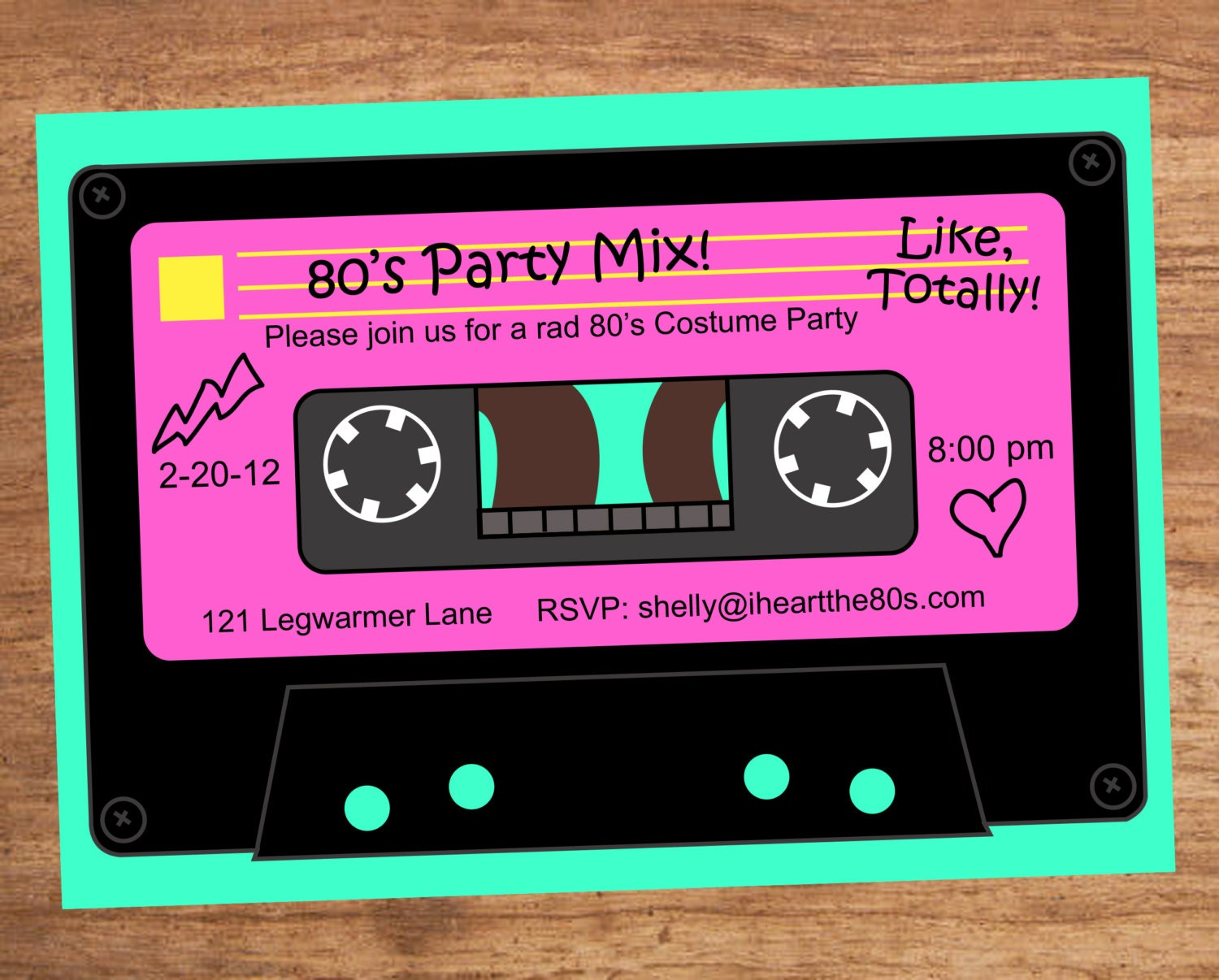 80s Party Mix Tape Custom Invitation