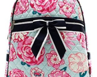 Monogrammed/Personalized Quilted Flower Backpack/Bookbag, Toddler Bag