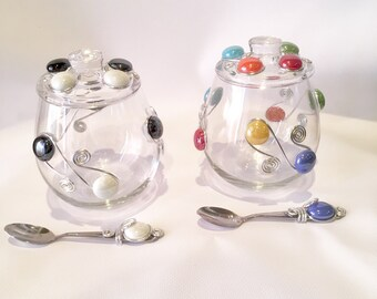 Sugar Bowl w/lid & spoon, Glass Sugar Bowl, Candy Bowl, Condiment Bowl, Kitchen Decor, Coffee and Tea, Beaded Bowl, Dips, Beaded Spoon