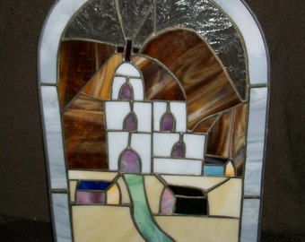 Vintage Stained Glass Window Panel Church Design Handmade Rustic with Chain
