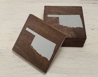 Pick State, Pick Color, Oklahoma Wood Coasters, Set of 4, Wedding Gift, Housewarming Gift