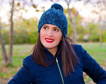 Blue pom pom hat, womens pom pom hat, pom pom beanie, knit pom pom hat, hat with pom pom, womens winter hat, knit wool hat, hats for women