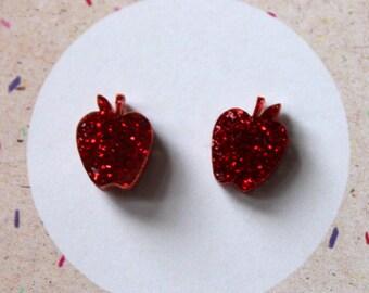 Red glitter apple stud earrings on sterling silver posts