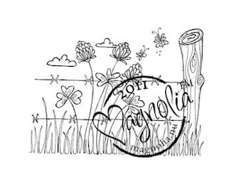 Magnolia Barbed Wire Background Rubber Cling Stamp Scrapbooking, Scrapbook Stamp, Card Making
