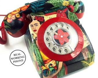 Unique Custom Frida Kahlo Shimmer Upcycled Vintage Rotary Phone FULLY WORKING