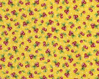 Quilting Treasures Cherries- Mary Englebright Yellow, Fabric by the Yard