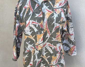 Vintage New Wave 80s blouse cotton by East River Clothing Co sz M