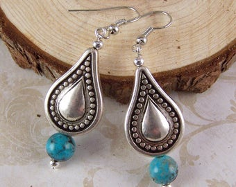Silver Earrings, Turquoise Earrings, Silver Turquoise Teardrop Earrings, Bohemain Earrings, Boho Jewelry, Silver Jewelry, Gifts for Her