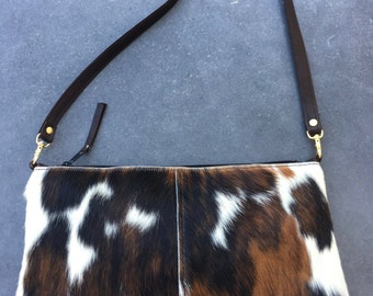 Black, Brown and White Hair on Hide Leather Convertible Crossbody Bag or Clutch, East-West