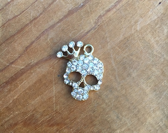 Skull Pendant with Crown and Jewels