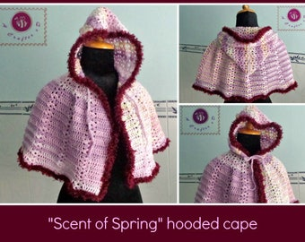 Scent of Spring hooded cape pdf crochet pattern ( size 2XS - 2XL )