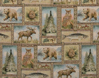 Bears Moose Trees Acorns And Fish Themed Tapestry Upholstery Fabric By The Yard | Pattern # A023