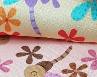 Diaper, Waterproof Laminate PUL - Firefly & Flowers in Cream or Pink