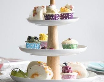 3-tier ceramic wooden cupcake stand homemade birthday party dessert stand cake plate dessert plate  sc 1 st  Etsy : cup cake plate - pezcame.com