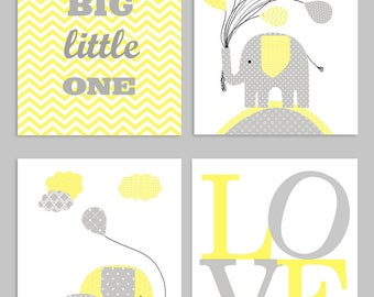 Dream Big Little One, Elephant Nursery Art, Gray and  Yellow, Love Print, Baby Shower Gift, Gender Neutral, Baby Boy, Baby Girl, Baby Room