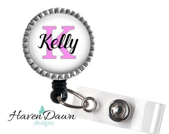 Retractable ID Badge Holder, Personalized Name Badge Reel